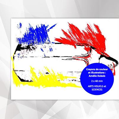 Crayon de couleur et illustration